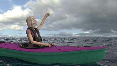 3D model of kayak girl with flare