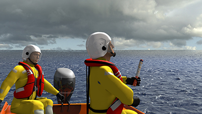 3D model of RNLI crew with flare