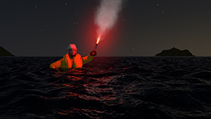 Animated casualty in water with flare